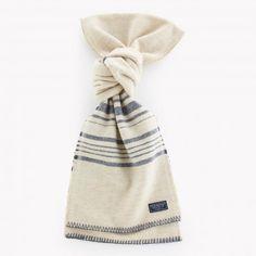 Weekender Stripe Wool Scarf - White/Slate Blue //USA