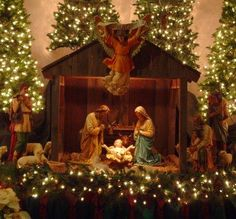 Nativity~~~~The reason for the season~~~~I want to put all those little trees, greens, and lights around mine. Anyone who really celebrates Christmas needs to have a Nativity manger. Let's all get going on that! Remember, Jesus is the reason! Church Christmas Decorations, Christmas Nativity Scene, Christmas Love, Beautiful Christmas, Christmas Lights, Vintage Christmas, Christmas Holidays, Christmas Crafts, Christmas Ornaments