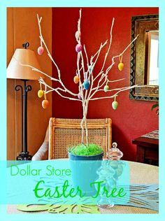 How to make an Easter Tree with dollar store ornaments!