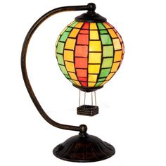 Stained Glass Hot Air Balloon H Table Lamp with Shade - Traditional Tiffany-Inspired Lighting Tiffany, Stained Glass Lamps, Hot Air Balloon, Home Lighting, Nursery Lighting, Colored Glass, Balloons, Table Lamp, Home Decor