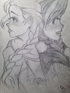 Ana and Elsa from Frozen (artwork done by Kamryn Brockbank)