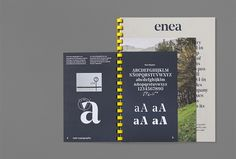 Enea presents its new identity, designed by Clase Bcn. This new image reflects the furniture company's Basque origins in distinctive, contemporary fashion and striking, spartan style. The project b… Typography Layout, Graphic Design Typography, Lettering Design, Branding Design, Editorial Design Layouts, Layout Design, Print Design, Magazine Design, Business Cards Layout