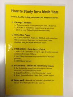 Math Study Guide Checklist
