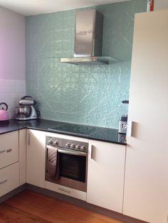 Pressed tin feature splash back Pressed Tin, Kitchen Cabinets, Kitchen Appliances, Kitchen Ideas, House Ideas, Diy, Home Decor, Fashion, Blue Prints