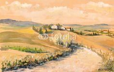 Tuscany landscape.Watercolors.