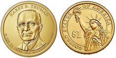 MONEDA PRESIDENTE TRUMAN  COLECCIÓN . Harry S. Truman, trigésimo tercer presidente de los Estados Unidos desde 1945 hasta 1953, combatió en la Primera Guerra Mundial con el cargo de oficial de artillería. Moneda que pertenece a la colección de monedas de Estados Unidos de Dólares Presidenciales 2015, junto con la de Eisenhower, Kenedy y Johnson