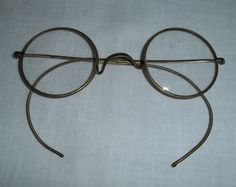 Vintage Eye Glasses Spectacles Metal Frame Silver Wire Collectible Decor