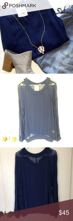 Anthropologie Sheer Navy Pleated Sweatshirt beautiful sheer navy blue pleated sweatshirt from Anthropologie! has small thread run on the back under the collar (see photos)  ✨just trying to clean out my closet, make an offer and it's yours!✨ Anthropologie Tops Sweatshirts & Hoodies