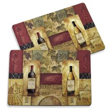 """Chateau Gregoire Placemats (Set of 2)    These beautiful placemats, celebrating wines and spirits, have a cork backing to protect tabletops. 97% MDF/3% cork. Each mat measures 11 3/4"""" x 15 3/4"""". Set of 2 mats."""