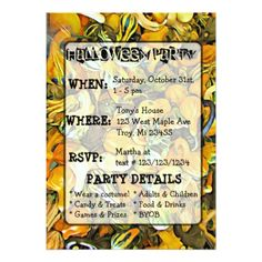 #Gourds Pumpkins and Cat Halloween Party Invitation - #halloween #invitation #cards #party #parties #invitations #card