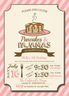 Pajamas and Pancakes Birthday Invitation by Thedomesticmom