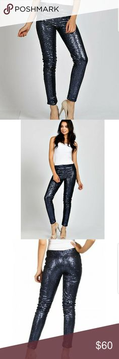May&July Skinny Pants Navy blue Sequin skinny pants Inside soft lining  100%Polyester  Light stretch Waist line is stretchy for comfort  Fashion Foward!! Ladies u know u want these. May&July Pants Skinny