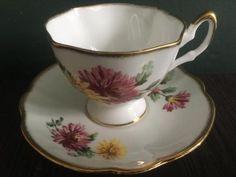 Salisbury England hand painted floral vintage tea cup and saucer 3324 porzellan