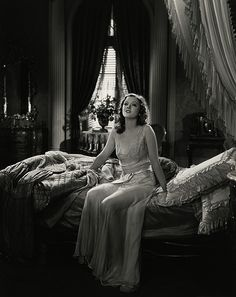 """Myrna Loy in """"Love Me Tonight,"""" 1932 this scene was cut from the film because her nightgown was considered too revealing"""