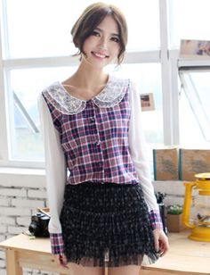 Women Cute Style Checkered Printed Color Contrast Double Neck Blouse - Item 696012 at Eastclothes.com