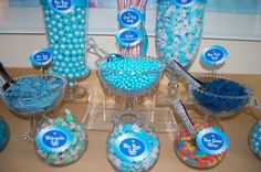 Close up on blue candy buffet, see how pretty my blinged out scoops and tongs are...ooh