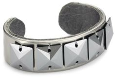 """TED ROSSI """"Femm e Fatale"""" Mirror Leather and Squares XS Cuff Bracelet Ted Rossi. $115.00. Adjustable brass base ensures a one size fits most. Mirror leather adorned with square Swarovski elements in a linear pattern. Made in USA"""