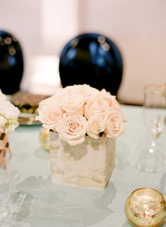 What We're Loving: Romantic Flower Arrangements #wedding #centerpiece #tablescape #pink #roses