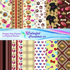 Puppy Dog Set Digital Papers For Personal And Commercial Use