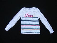 GYMBOREE Graphic Tee, Paris Stripes White Long Sleeve Gem 100% Cotton Sz 8 #Gymboree