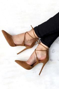 black skinny jeans & tan lace-up pumps #style #fashion #shoes #heels #suede