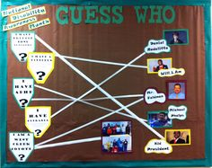 National disability awareness month bulletin board | guess who matching game with students, principal and celebs at my internship site :)