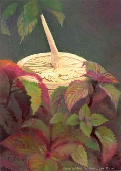 For jewel-tone colors, buy this print titled Sundial with Coleus, directly from the artist online shop, a trusted source for buying fine art giclee prints.  Jewel tone colors of crimson and coral glow among muted green hues, as the sundial marks the passing hours of the garden.  $29.00