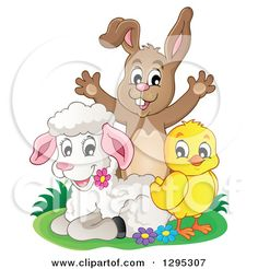 Clipart of a Happy Brown Bunny Rabbit Cheering Behind a Spring Lamb and Chick - Royalty Free Vector Illustration by visekart