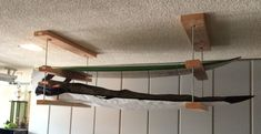 Build A Surfboard 460774605617180824 - simple ceiling surfboard rack More Source by Decoration Surf, Surf Decor, Surfboard Storage, Surfboard Rack, Garage Organization, Garage Storage, Kayak Storage Rack, Surf House, Boat House