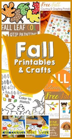 LOADS of fall theme ideas for kids! Celebrate fall with free printables, crafts and more! Fall Preschool, Preschool At Home, Preschool Ideas, Autumn Leaves Craft, Autumn Crafts, Fall Sensory Bin, Toddler Fun, Kids Fun, Fall Coloring Pages