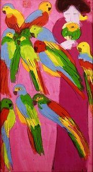 Lady with Parrots par Walasse Ting