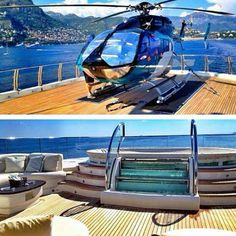 Transportation. Helicopter landing at your yacht