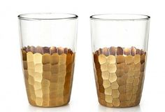 For the Urban Kitchen: Set of 2 Gold Glasses by Nathan Turner