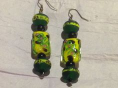 Green and yellow Lampwork