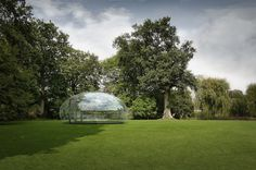The Droplet  a transparent 25m2 greenhouse pavilion.  Architect: Kristoffer Tejlgaard  Manufactorer: MARKANT A/S