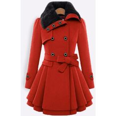 Yoins Red Thicker Double Breasted Tweed Coat with Belt ($49) ❤ liked on Polyvore featuring outerwear, coats, red, coat with belt, red coat, double-breasted coat, belted coat and double breasted belted coat