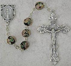 Black Cloisonne Bead Rosary - beautiful