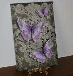 Lace with butterflies - pink A4 matt art print £7.00