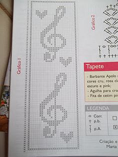 Clave de sol. Cross Stitch Bookmarks, Crochet Bookmarks, Bead Loom Patterns, Crochet Stitches Patterns, Cross Stitch Designs, Cross Stitch Patterns, Crochet Square Blanket, Filet Crochet Charts, Graph Design