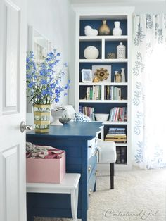 love this bookcase! love the paint job, so i guess that means the inside of the one in my old bedroom can stay green, but all of the outside edges should be palest of pinks to match the walls. (it's a lilly room, thankyouverymuch)