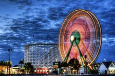 The Park Another view of the Ferris Wheel at the Family Kingdom Amusement Park in Myrtle Beach, South Carolina. Photograph by Mike Foote Funky Lighting, Long Exposure Photos, Spring Carnival, Picture Story, Fukuoka, World Of Color, Light Painting, Amusement Park, Nature Photos