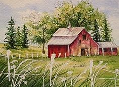 Watercolor Painting Door and Fence