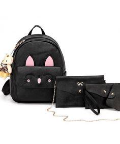 fef40a3e0e Women Cat Backpacks Set for Teens Girls School Bags Cartoon Small Purse -  Black - CX186ZTHHD6