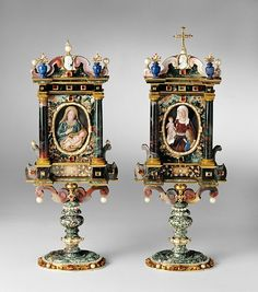 Reliquaries for a piece of the cloth of Virgin Mary (left) and of Saint Anne, her mother, made in multicoloured stones by Ottavio Miseroni after 1618 on order for the very pious Empress Anna, wife of Emperor Matthias I, brother and successor of Rudolf II. Kunsthistorisches Museum Wien, Renaissance, Blessed Virgin Mary, Medieval Art, Blessed Mother, Sacred Art, Memento Mori, Religious Art, Our Lady