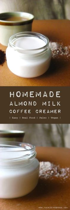 An easy recipe for almond milk coffee creamer with a concentrated flavor and creamy texture, perfect for splashing into your favorite coffee or tea. Skip the store-bought non-dairy creamers with weird emulsifiers and preservatives (like carrageenan) Almond Milk Coffee Creamer, Dairy Free Coffee Creamer, Homemade Coffee Creamer, Coffee Creamer Recipe, Non Dairy Creamer, Coffee With Almond Milk, Paleo Creamer, Healthy Coffee Creamer, Cow Creamer