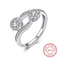 925 Sterling Silver Flower Opening Ring
