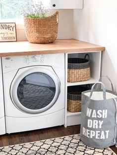 Creating A Pinterest Perfect Laundry Room Custom Dog Beds, Laundry Pods, Washing Machine Cleaner, Shelving Design, Laundry Room Organization, Beautiful Interior Design, Decorating Small Spaces, Interior Decorating, Modern Farmhouse