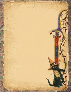 Wiccan Witch, Witchcraft, Witch Spell, Writing Paper, Halloween Cat, Book Of Shadows, Art Pages, Occult, Scrapbook Paper