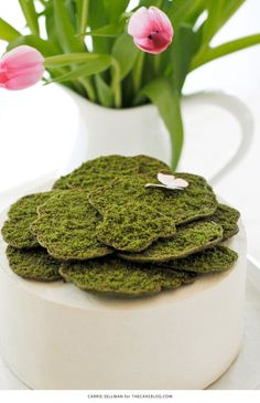 Moss Cake | how to make edible moss from sugar cookie dough | interesting idea - gives step by step directions