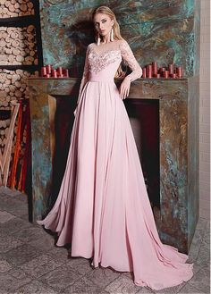 Beautiful Chiffon Jewel Neckline Long Sleeves A-line Prom Dress With Lace Appliques,Sexy Prom Dress,Cheap Evening Dress,Custom Made,Party Gown Cheap Evening Dresses, A Line Prom Dresses, Cheap Prom Dresses, Evening Gowns, Bridesmaid Dresses, Formal Dresses, Wedding Dresses, Dress Prom, Pink Flower Girl Dresses